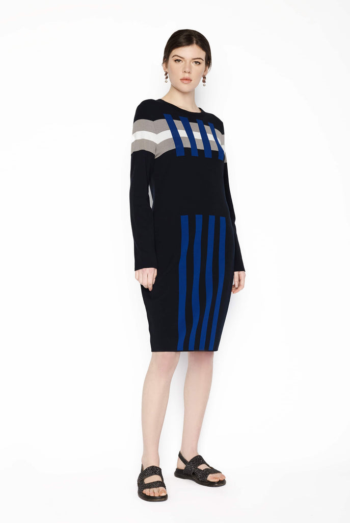 Big Fashion Sale Marc Cain Dress Knit Geo Pattern Midnight Blue