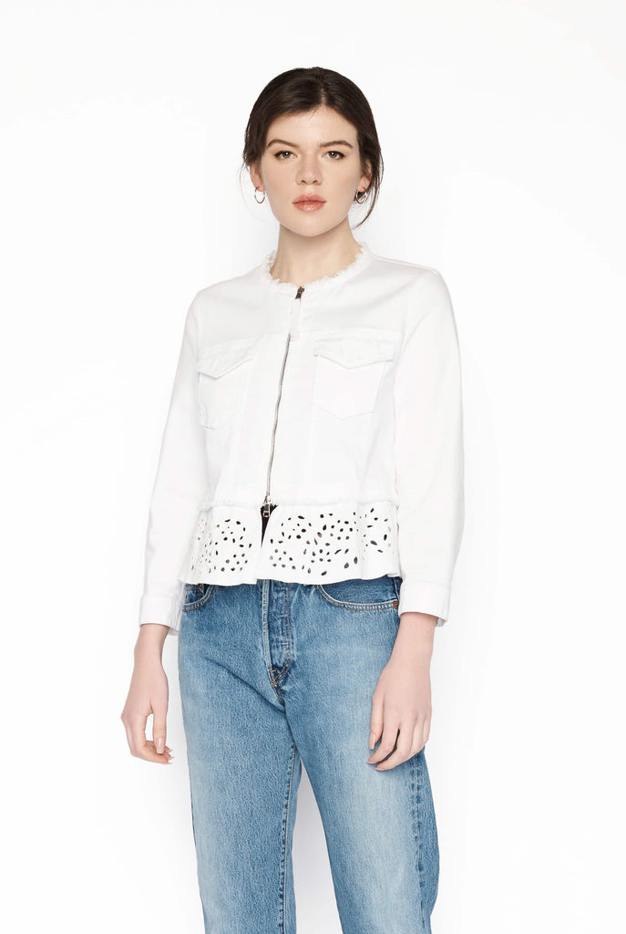 Big Fashion Sale Marc Cain Jacket in White Canvas Broderie Poplin