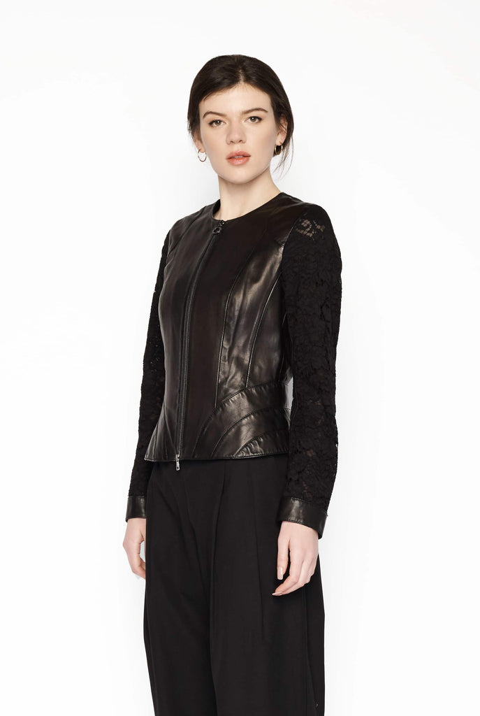 Big Fashion Sale Marc Cain Lace Sleeve Leather Jacket