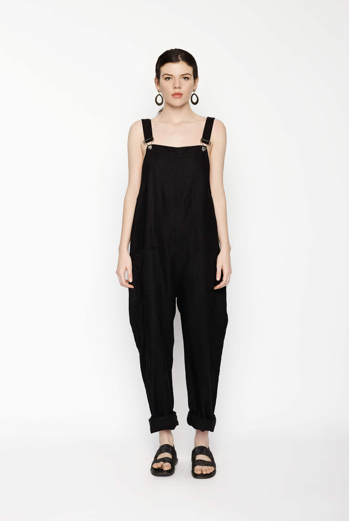 Big Fashion Sale Matin Black Cotton Dungarees