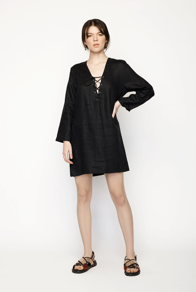 Matin - Lace Up Linen Dress