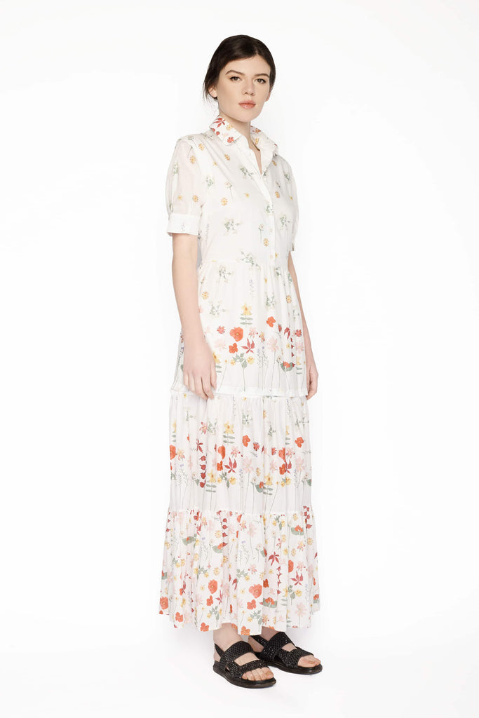 Big Fashion Sale Max Mara Giunto Cotton Dress White Floral Tie