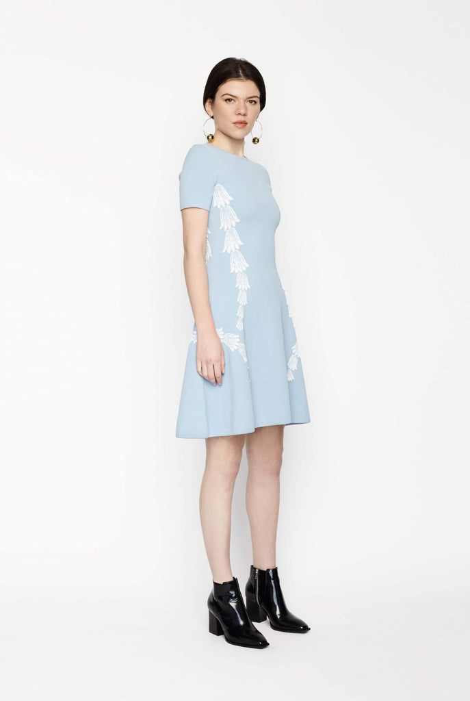 Big Fashion Sale Oscar de la Renta A-Line Sky Blue and White Knit Dress