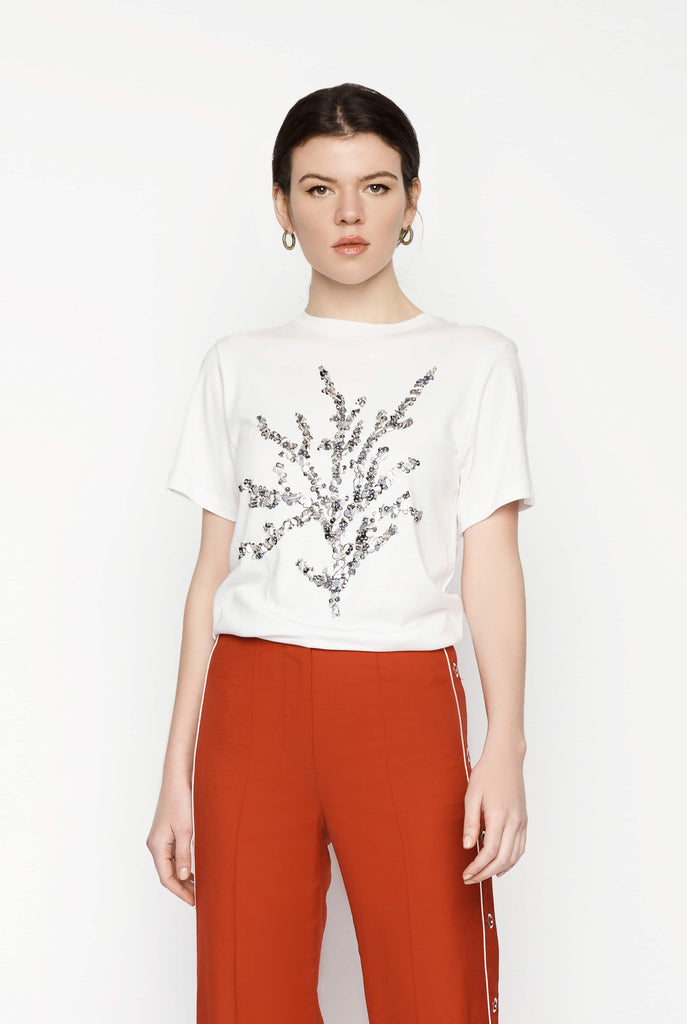 Big Fashion Sale Oscar de la Renta White Sequin T-Shirt