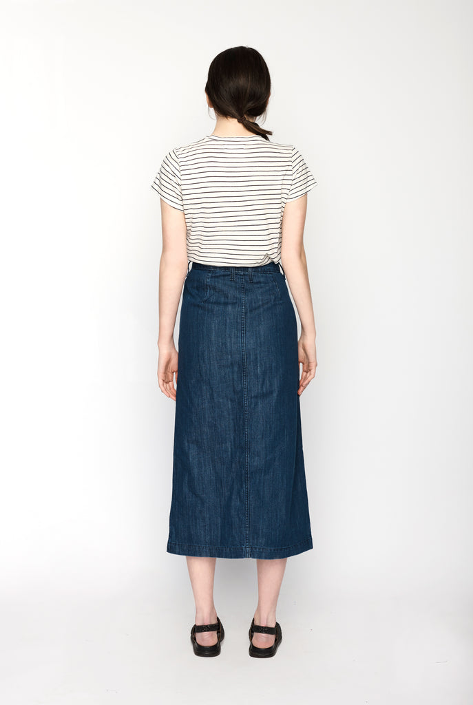 Permanent Vacation - Button-Through Denim Skirt