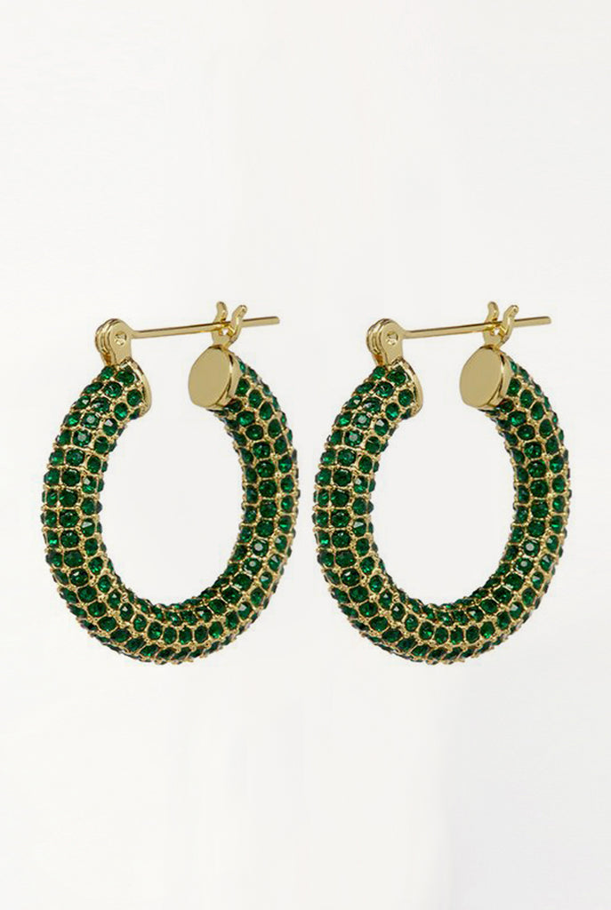 Pave Baby Amalfi Hoops - Gold & Emerald