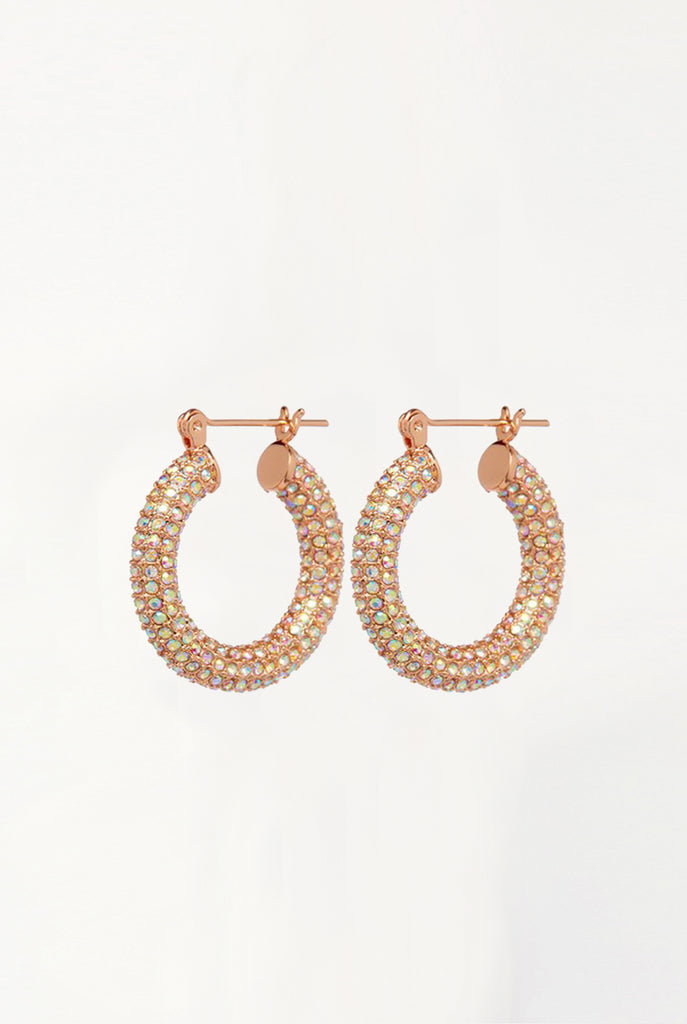 Pave Baby Amalfi Hoops - Rose Gold & Rainbow Crystal