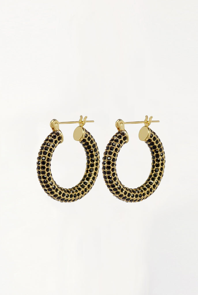 Pave Baby Amalfi Hoops - Gold & Jet