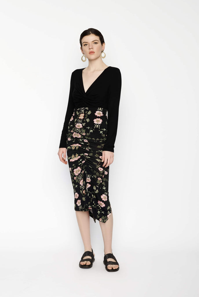 Big Fashion Sale Preen Floral Ruched Skirt Black
