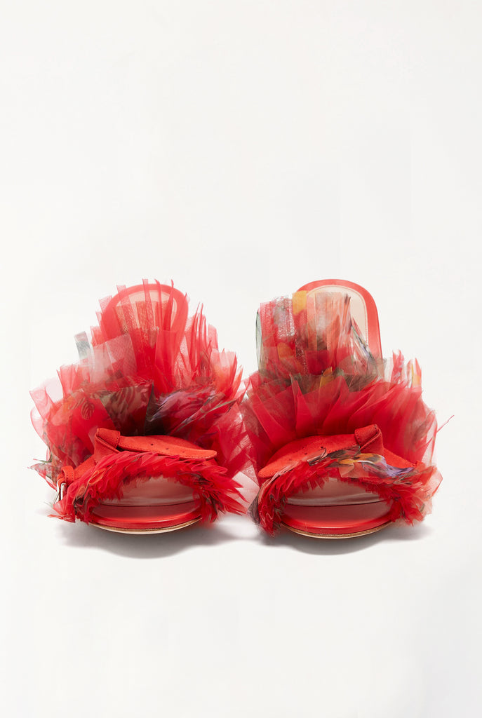 Alexander Mcqueen - Floral-print Pleated Organza Mules