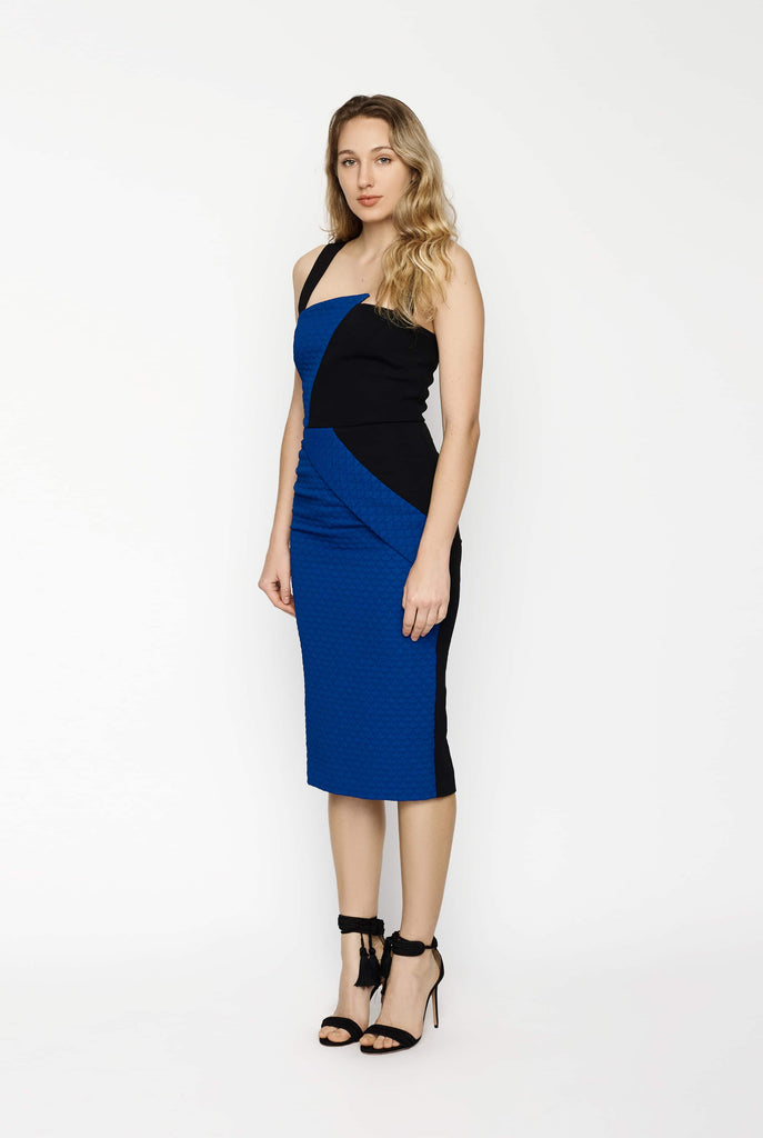 Big Fashion Sale Roland Mouret Hutton Fitted Blue and Black Dress