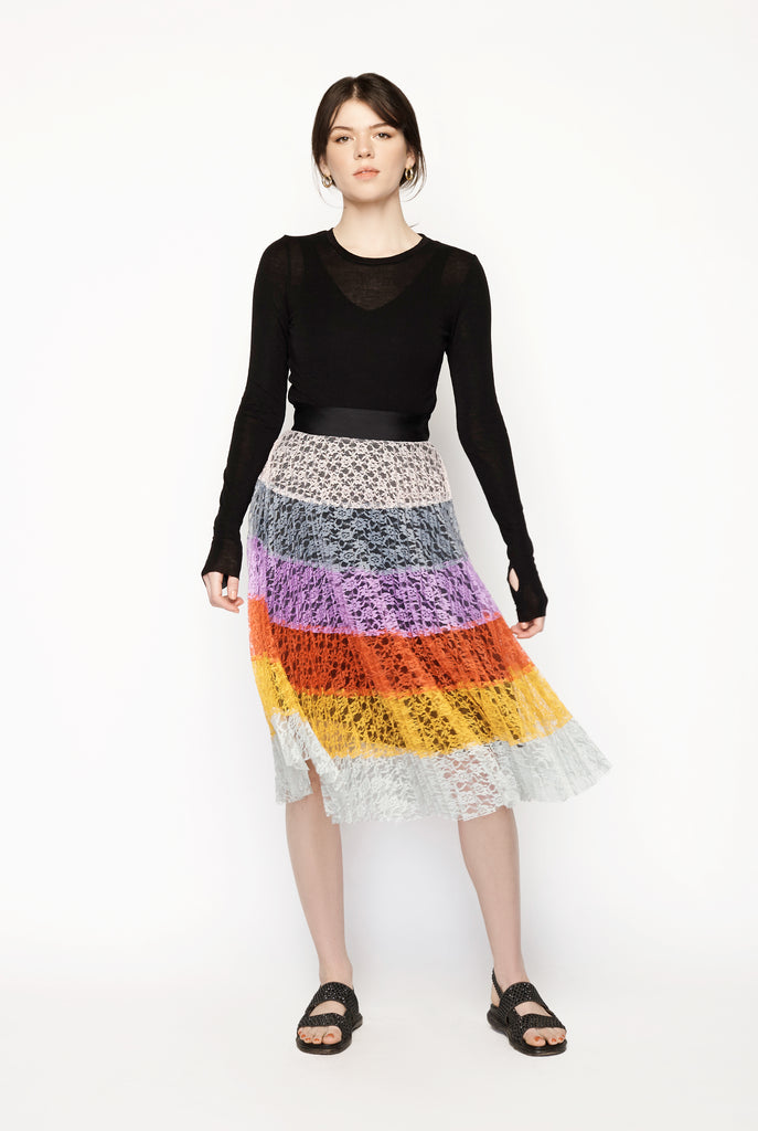Romance Was Born - Anthology Patchwork Pleated Skirt