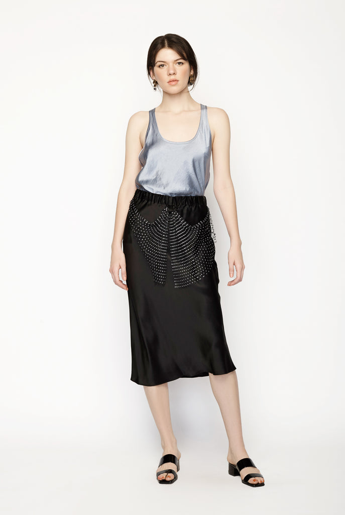 Diamonds Pearls Silk Bias Skirt