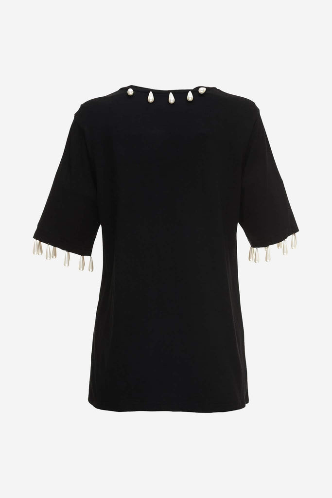 Big Fashion Sale Romance Was Born Regency Tee, Black Pearls