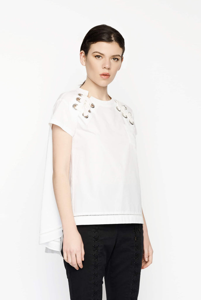 Big Fashion Sale Sacai Cotton Pop Top White