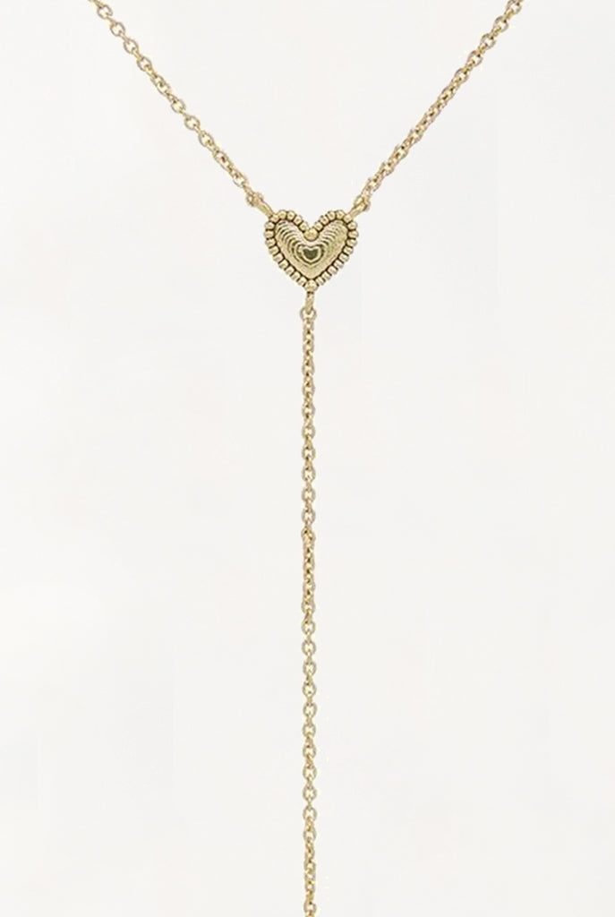 The Studded Heart Lariat - Gold