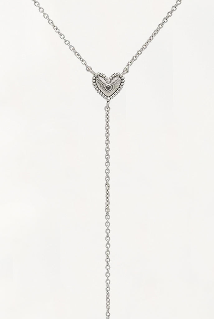 LUV AJ - The Studded Heart Lariat. SIlver
