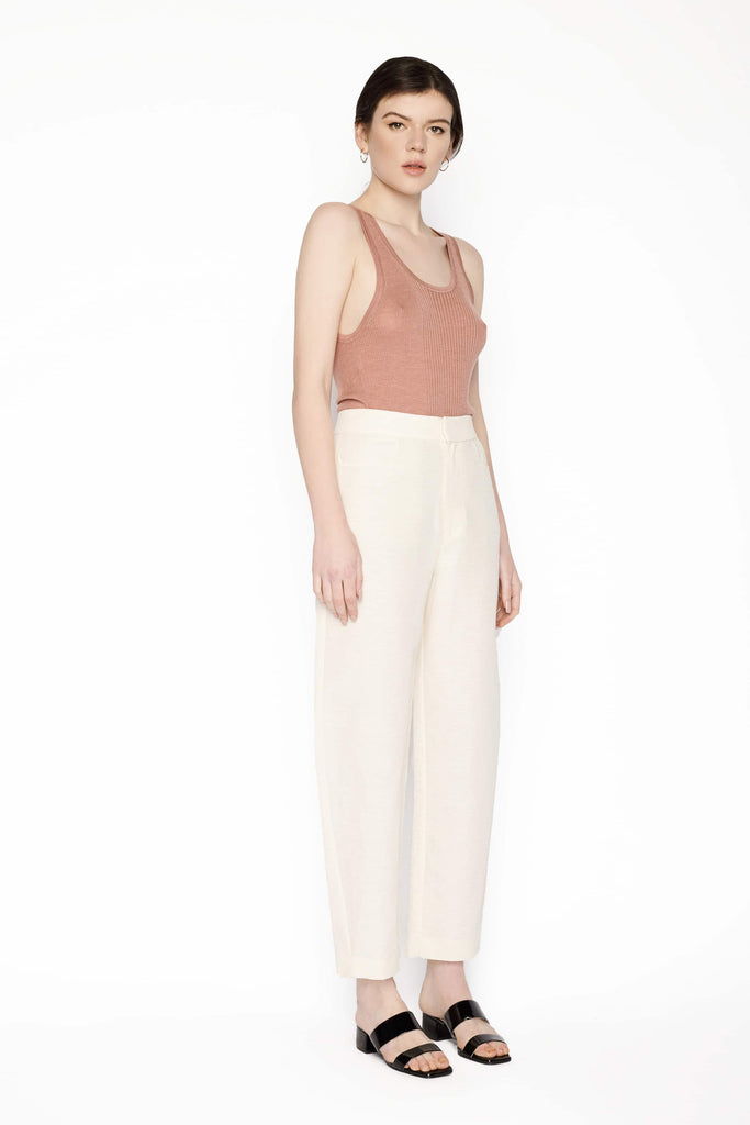 Big Fashion Sale Toteme Linen Blend Trousers with Shaped Leg