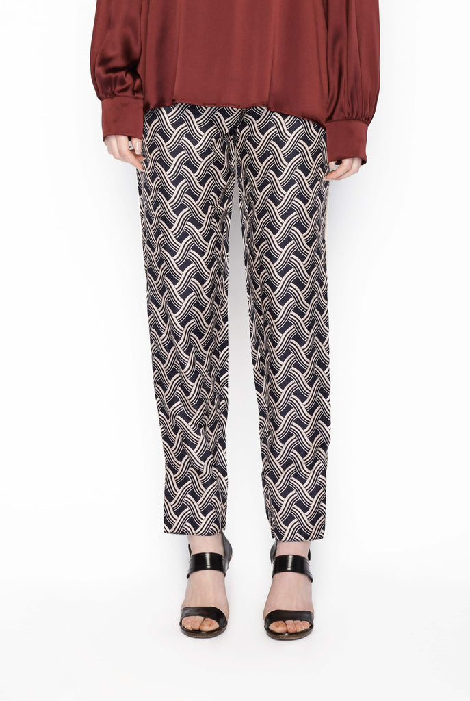 Big Fashion Sale Victoria Beckham Navy Silk Print Pant