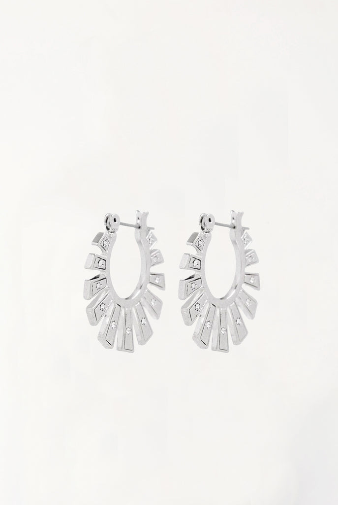 The Whimsy Flare Mini Hoops - Silver