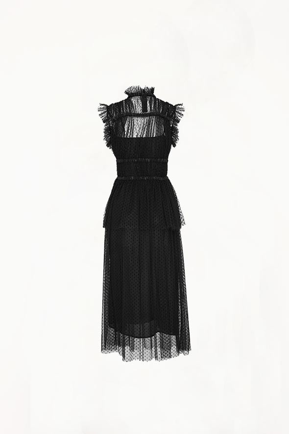 Romance Was Born - Frollic Tuelle Ruch Dress, Black