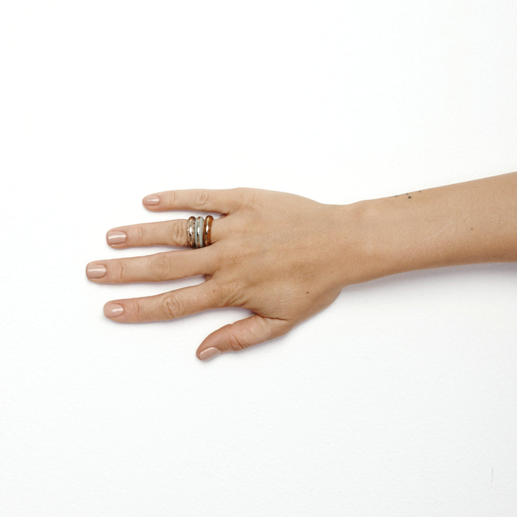 Studio Elke - Orbit Ring Stack - Sea Mist