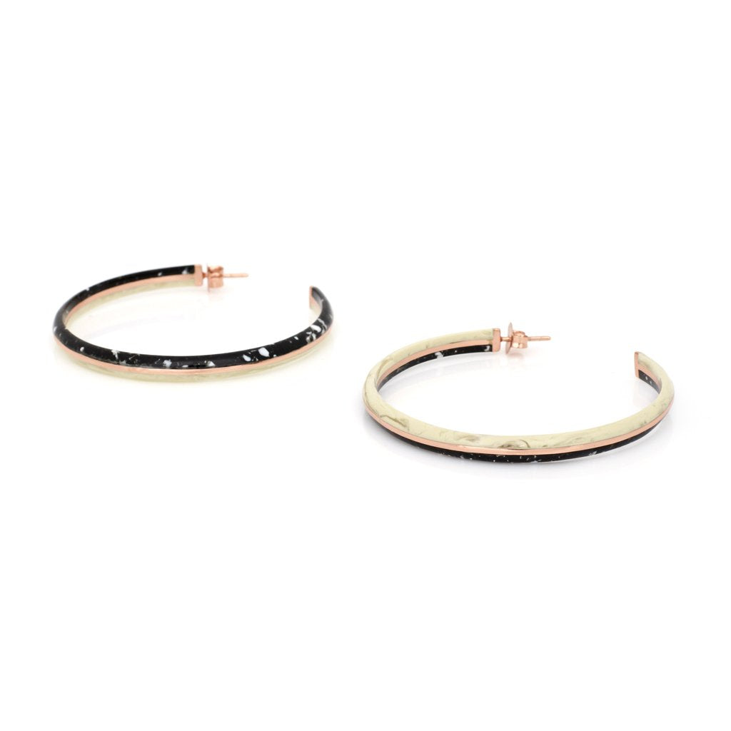 Studio Elke - Crescent Hoop Earrings - Black Granite
