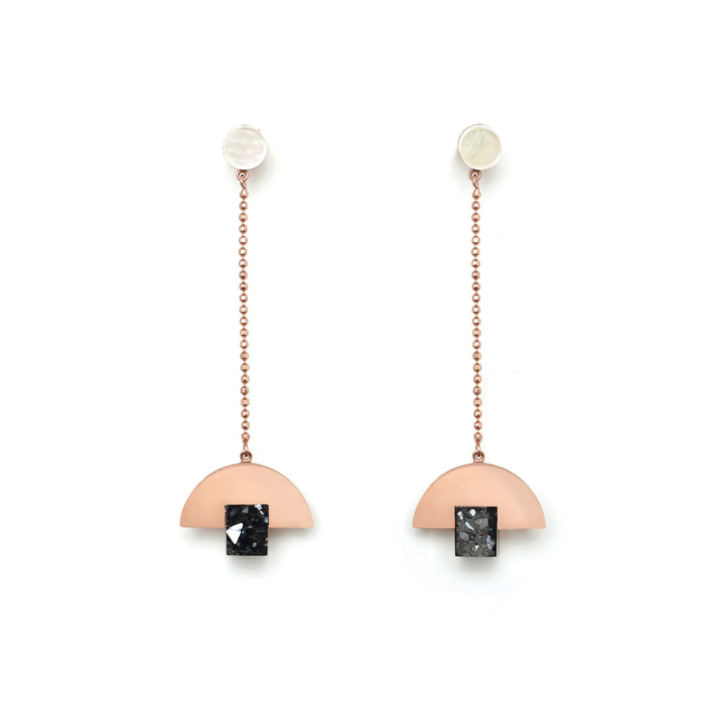 Fine chain drop luxe resin earrings by Studio Elke.