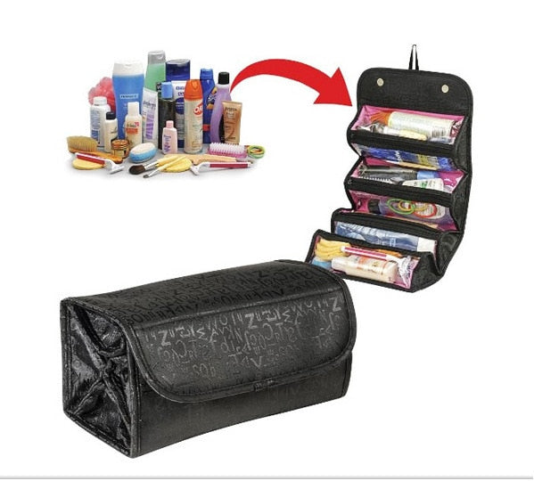 Roll N Go Portable Folding Travel Storage Bag Mounted Hanging Cosmetic Bag Makup Organizer Four Layers