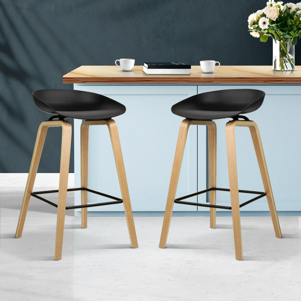 Bentwood Stools - Set of 2 Wooden Backless Bar Stools - Black