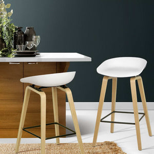 Bentwood Set of 2 Wooden Backless Bar Stools - White