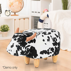 Kids Cow Animal Stool Black and White