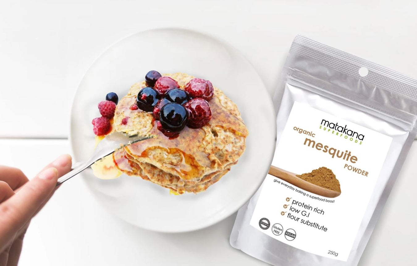 mesquite-powder-with-pancakes-plant-based-nz