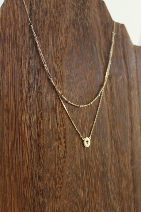 Cross Double Chain Layer Necklace