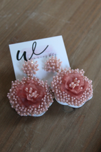 Load image into Gallery viewer, Poetic Statement Beaded Flower Earrings