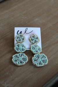 Patricia Sage Bead Flower Earrings