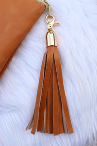 More is More Extra Large Leather Clutch with Tassel