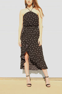 Ruffles Black and White Polka Dot High-Low Dress
