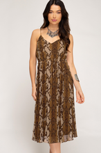 Load image into Gallery viewer, Reptile Print Midi Dress