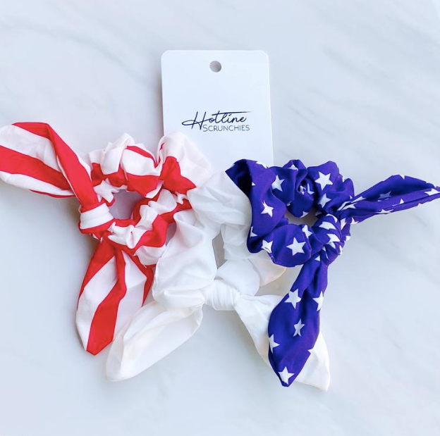 Red White and Blue Hair Scrunchies
