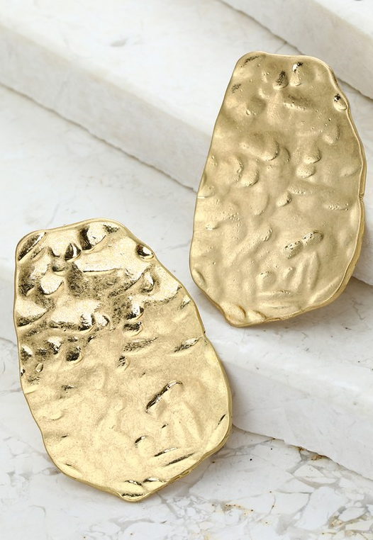 Golden Hammered Stud Earrings