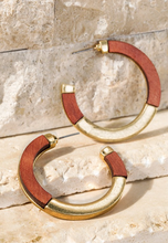 Load image into Gallery viewer, Boho Wood Metal Hoop Earrings