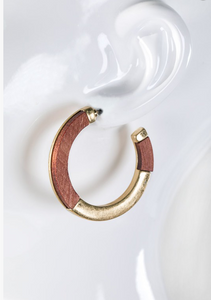 Boho Wood Metal Hoop Earrings