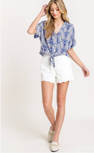 Load image into Gallery viewer, Summer Sky Tie Blue Blouse