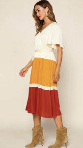 Clay Color Block Midi Dress