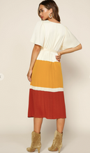 Load image into Gallery viewer, Clay Color Block Midi Dress