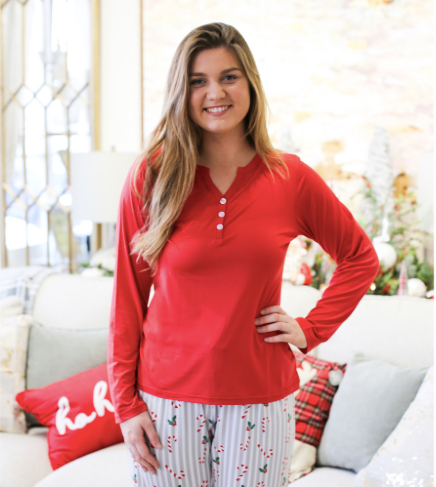 Classic Red Henley Sleep Shirt