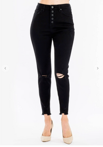 Black High Rise Distressed Denim Pants