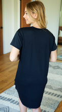 Load image into Gallery viewer, Knot Bottom Black T-Shirt Dress