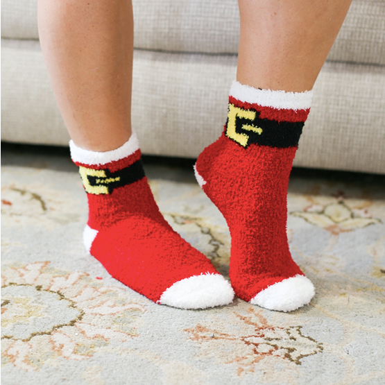 Santa Belt Cozy Holiday Socks